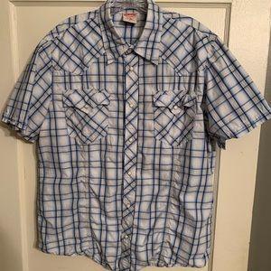 Men XL - XXL Lucky Western Shirt Blue/White EUC